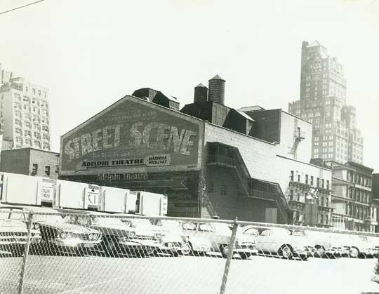 George Abbott Theatre - Adelphi exterior from 7th Ave and 54th Street, courtesy of the Shubert Archive.